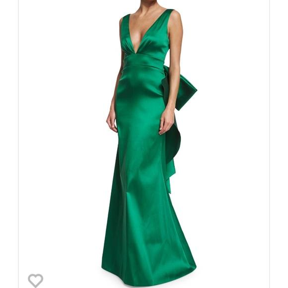 Sachin Babi Dresses Nwt Sachin Babi Green Bow Gown Size 4 995